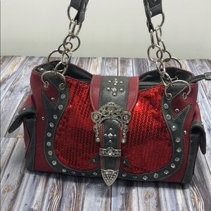 Red Conceal Carry Satchel with lots of bling